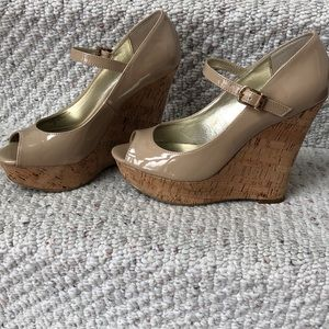 Shoes - Guess nude patent cork platform Mary Janes 7.5M